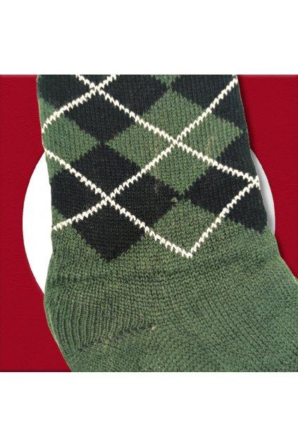 Pánske zateplené ponožky na zimu zelené s čiernym vzorom YF04M Green
