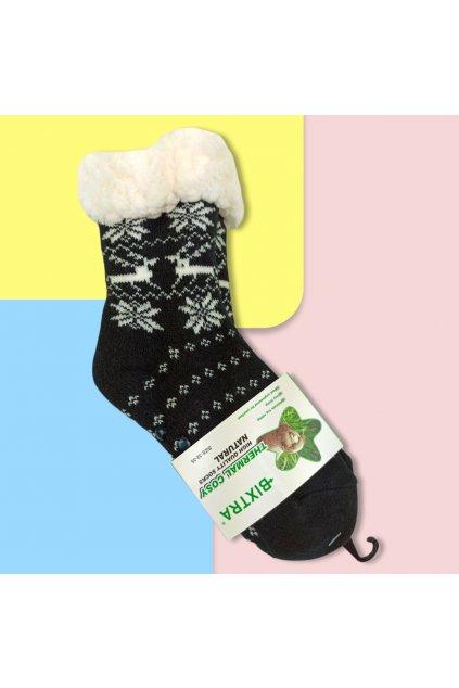 Detské zateplené ponožky s kožušinou čierne HL-1829 Black