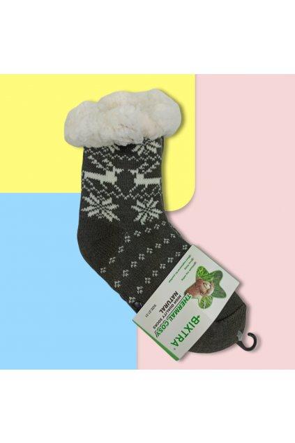 Detské zateplené ponožky s kožušinou tmavo sivé HL-1829 Dr.Grey