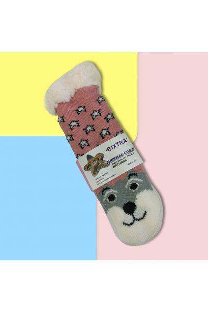 Detské zateplené ponožky s kožušinou ružovo sivé HL-1825 Pink/Grey