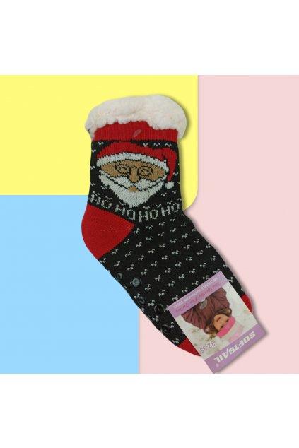 Detské zateplené ponožky s kožušinou čierne s Mikulášom DN711 Black
