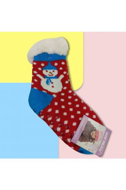 Detské zateplené ponožky s kožušinou červené so snehuliakom DN711 RED