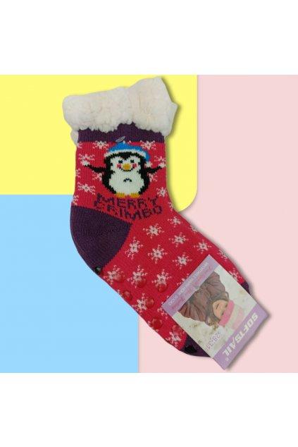 Detské zateplené ponožky s kožušinou ružové DN711 Pink