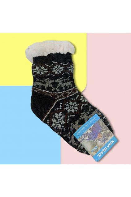Detské zateplené ponožky s kožušinou čierne DN602 Black