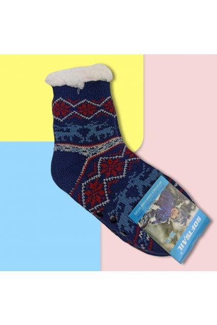 Detské zateplené ponožky s kožušinou tmavomodré DN602 Blue-Dr.