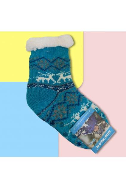 Detské zateplené ponožky s kožušinou modré DN602 Blue