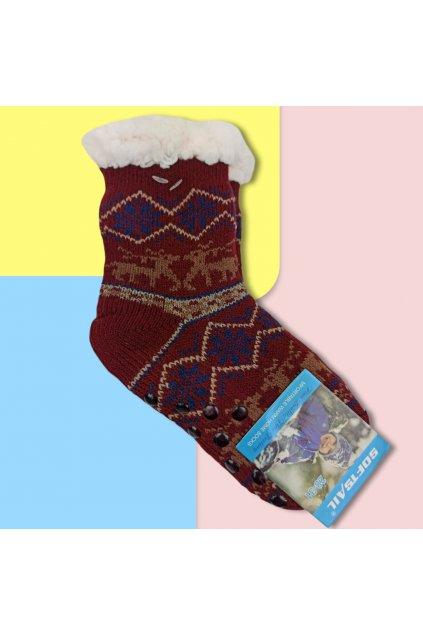Detské zateplené ponožky s kožušinou bordové DN602 Burgundy