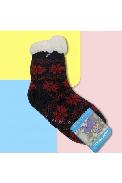 Detské zateplené ponožky s kožušinou čierne DN601 Black