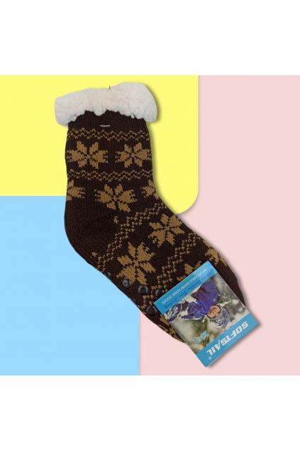 Detské zateplené ponožky s kožušinou tmavohnedé DN601 Dr.Brown