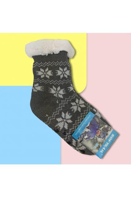 Detské zateplené ponožky s kožušinou svetlo sivé DN601 GREY