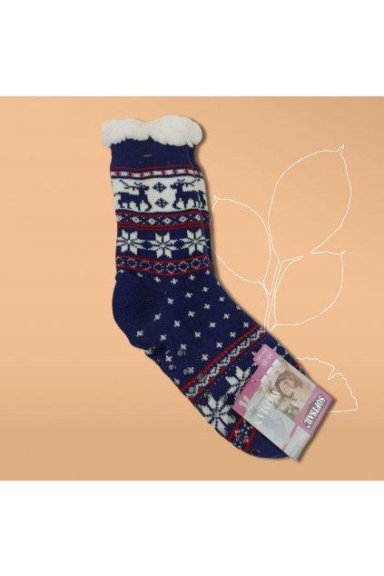 Dásmke termo ponožky s kožušinou modré DN011 Blue
