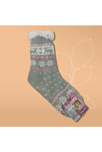 Dásmke termo ponožky s kožušinou sivé DN011 Grey