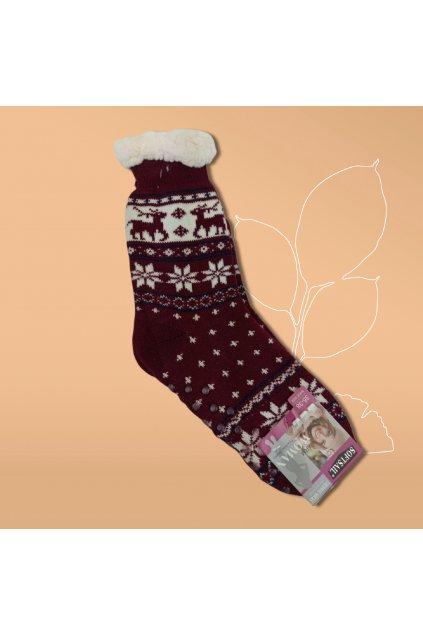 Dásmke termo ponožky s kožušinou bordové DN011 Burgundy