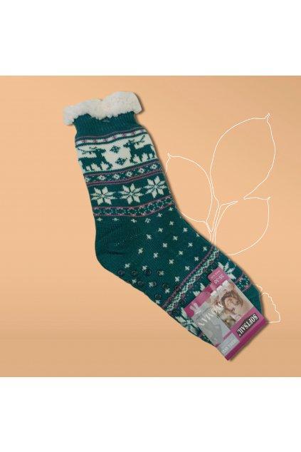 Dámske termo ponožky s kožušinou zelené DN011 Green