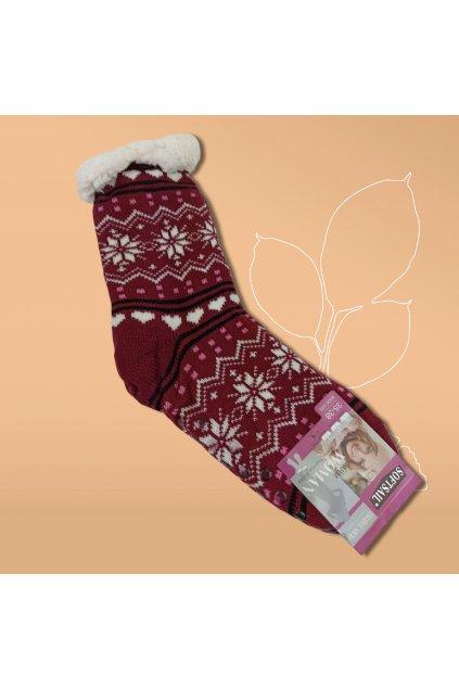 Dámske termo ponožky s kožušinou hnedé DN042 Bordová