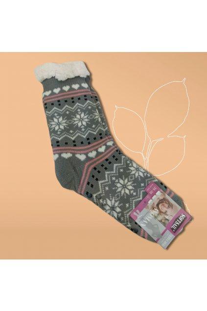 Dámske termo ponožky s kožušinou sivé DN042 GREY