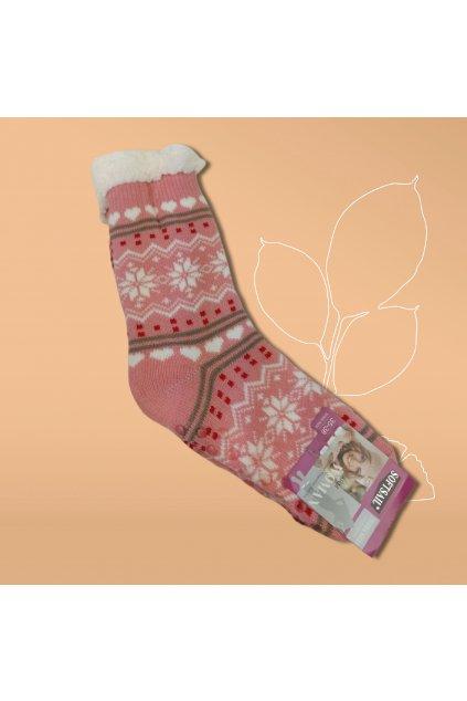 Dámske termo ponožky s kožušinou ružové DN042 Pink