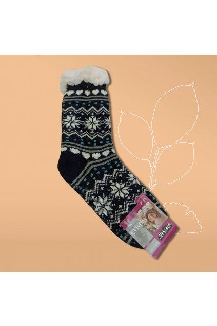 Dámske termo ponožky s kožušinou čierne DN042 Black
