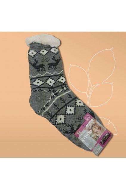 Dámske termo ponožky s kožušinou sivé DN045 Grey