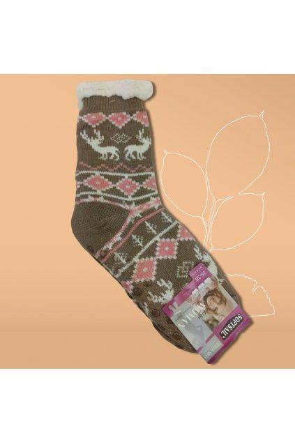 Dámske termo ponožky s kožušinou hnedé DN045 Brown