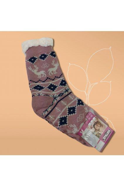 Dámske termo ponožky s kožušinou ružové DN045 Pink
