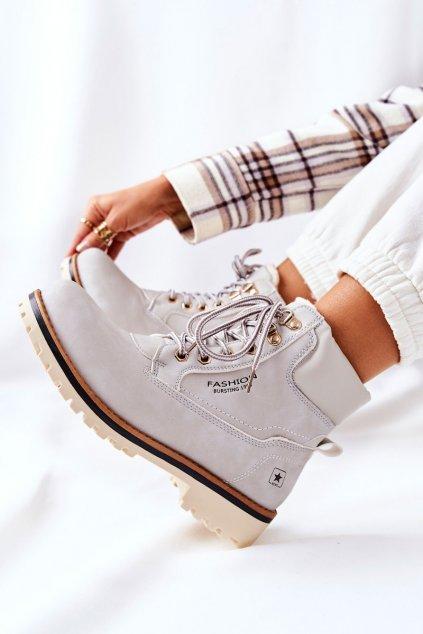 Členkové topánky na podpätku farba sivá NJSK 20BT26-3040 LT.GREY