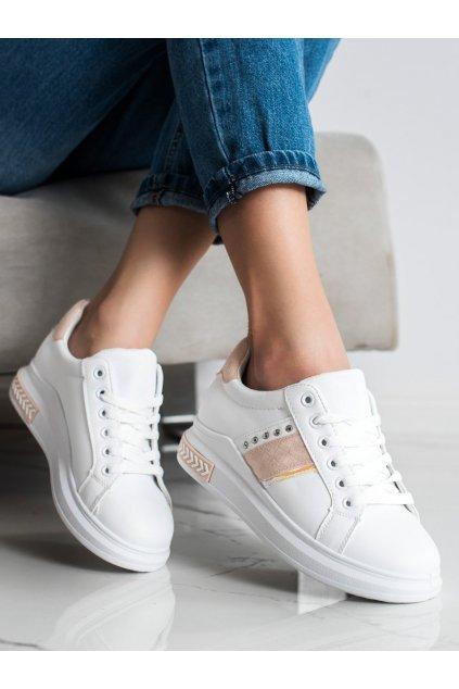 Biele dámske tenisky Trendi kod LE6019P