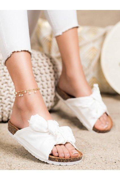Biele dámske šľapky Forever folie kod WS11W