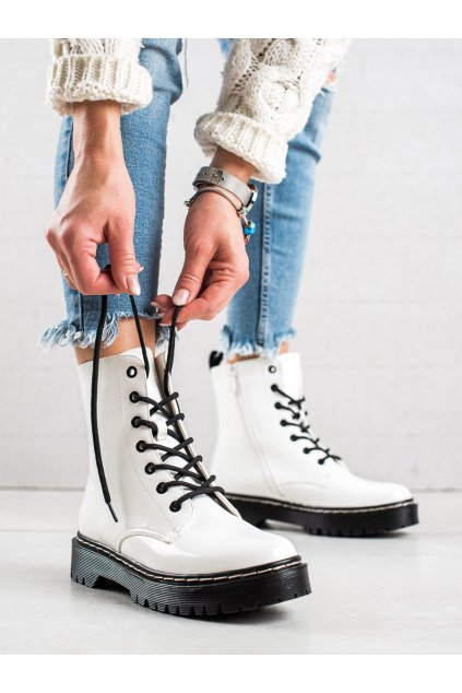 Biele dámske topánky Vinceza kod