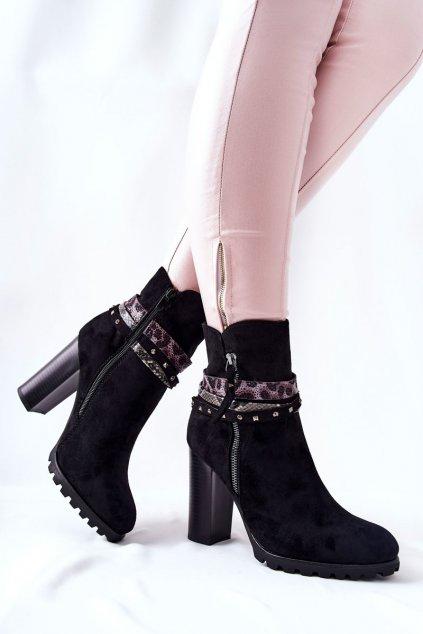 Členkové topánky na podpätku farba čierna kód obuvi Z1128 BLK