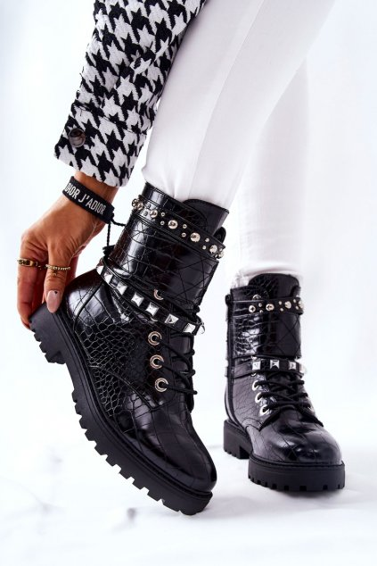 Členkové topánky na podpätku farba čierna kód obuvi HB-06 BLK