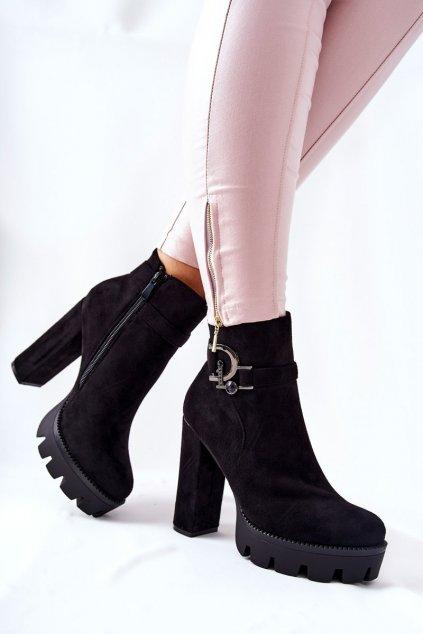 Členkové topánky na podpätku farba čierna kód obuvi 0-297 BLK