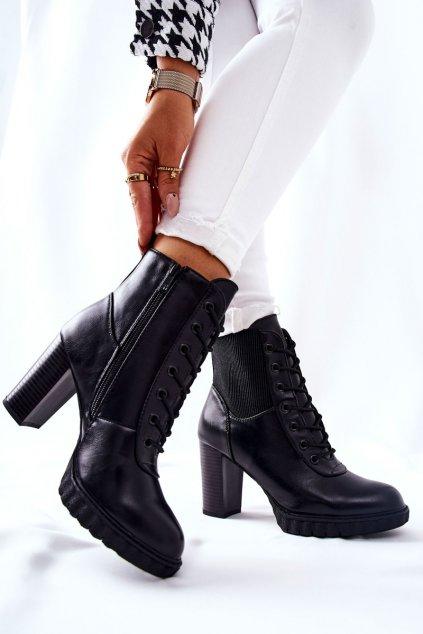 Členkové topánky na podpätku farba čierna kód obuvi 7108 BLK