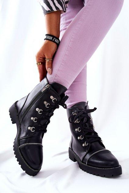 Členkové topánky na podpätku farba čierna kód obuvi 15625 BLK