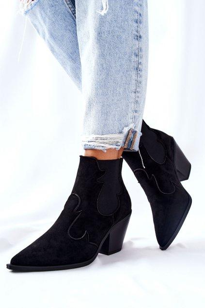 Členkové topánky na podpätku farba čierna kód obuvi G-7675 BLK
