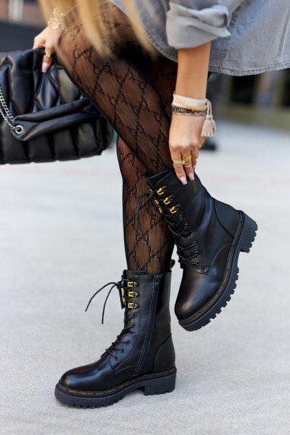 Členkové topánky na podpätku farba čierna kód obuvi 21-18002 BLK