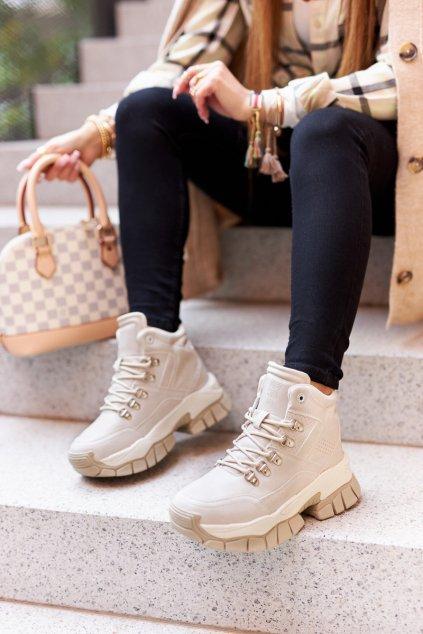 Dámske trekové topánky farba hnedá kód obuvi II274331 BEIGE