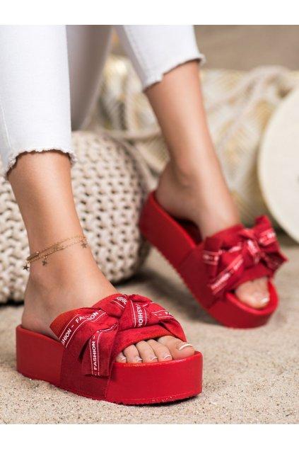 Červené dámske šľapky Trendi kod LS-222R