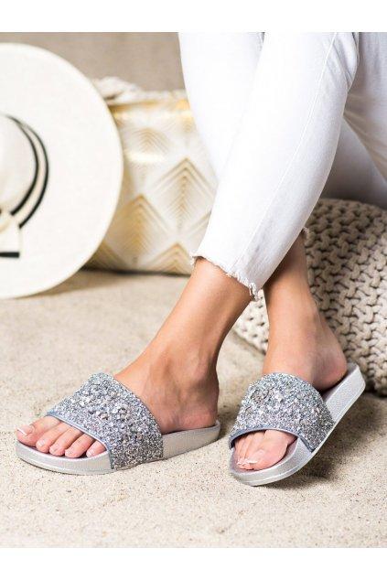 Sivé dámske šľapky Trendi kod L118S