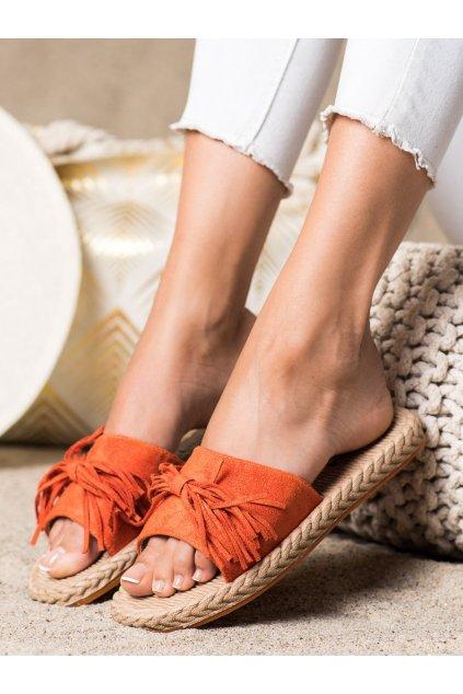Oranžové dámske šľapky Trendi kod H117NA