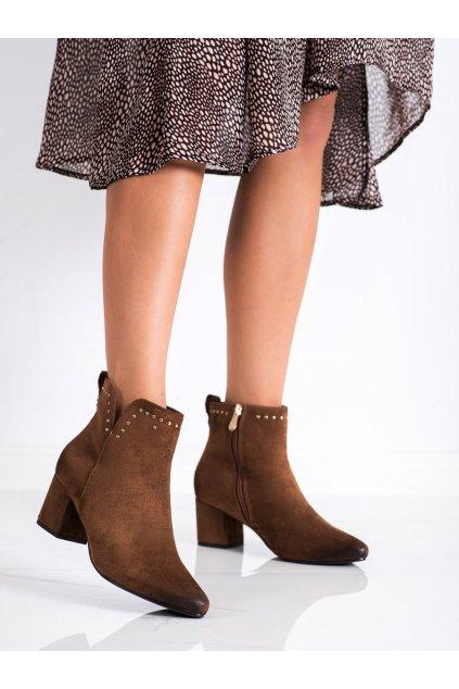 Hnedé dámske topánky Vinceza kod XY22-10626C