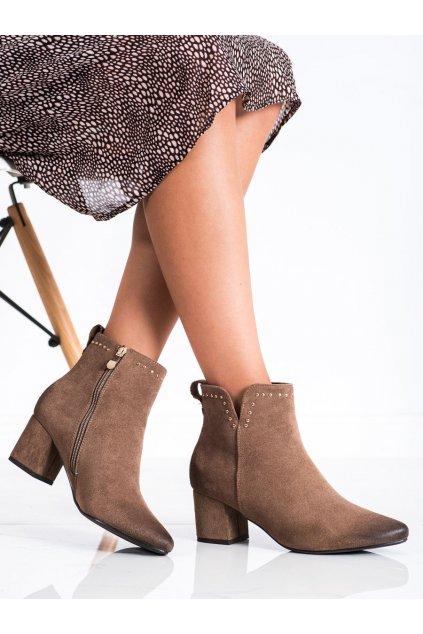Hnedé dámske topánky Vinceza kod XY22-10626BE