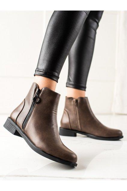 Hnedé dámske topánky Trendi kod MR-13KH