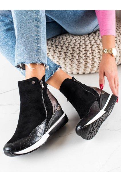 Čierne dámske topánky W. potocki kod SZ21-12021B/GO