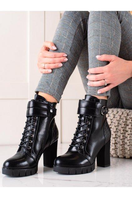 Čierne dámske topánky W. potocki kod RE21-11011B