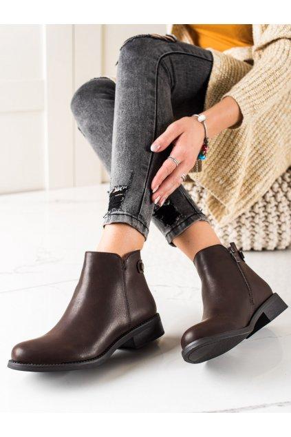 Hnedé dámske topánky Lovery kod MM-827BR