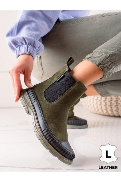 Zelené dámske topánky Big star kod II274355KH