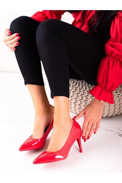 Červené dámske lodičky Best shoes kod AXY-3A17R