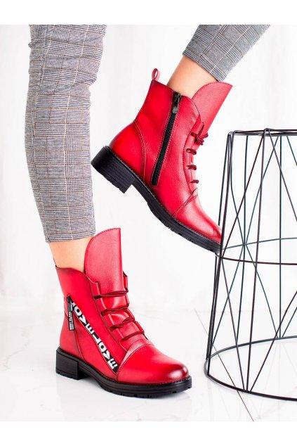Červené dámske topánky W. potocki kod 21-12004R