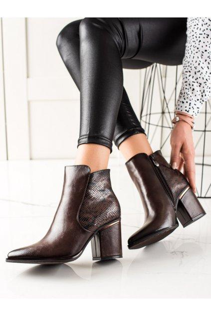 Hnedé dámske topánky W. potocki kod 21-12025BR